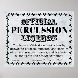 Licencia de la percusión póster