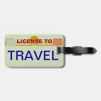 Licencia de viajar etiqueta etiquetas para equipaje
