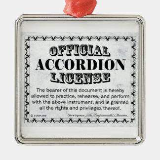 Licencia del acordeón adorno navideño cuadrado de metal