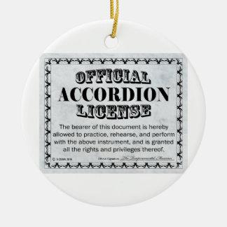 Licencia del acordeón adorno navideño redondo de cerámica