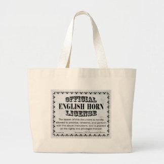 Licencia del cuerno inglés bolsa de tela grande