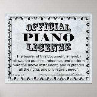 Licencia del piano póster