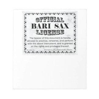 Licencia del saxofón de Bari Libreta Para Notas