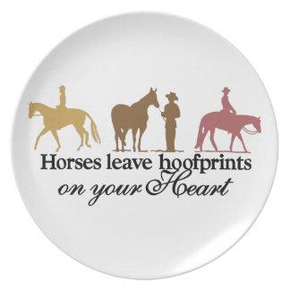 Licencia Hoofprints de los caballos Plato Para Fiesta