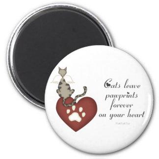 Licencia Pawprints de los gatos en su corazón Imán Redondo 5 Cm