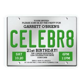 License Plate Birthday Invitations