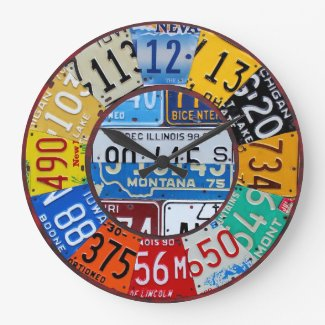License Plate Clock Vintage Numbers Car Tag Art