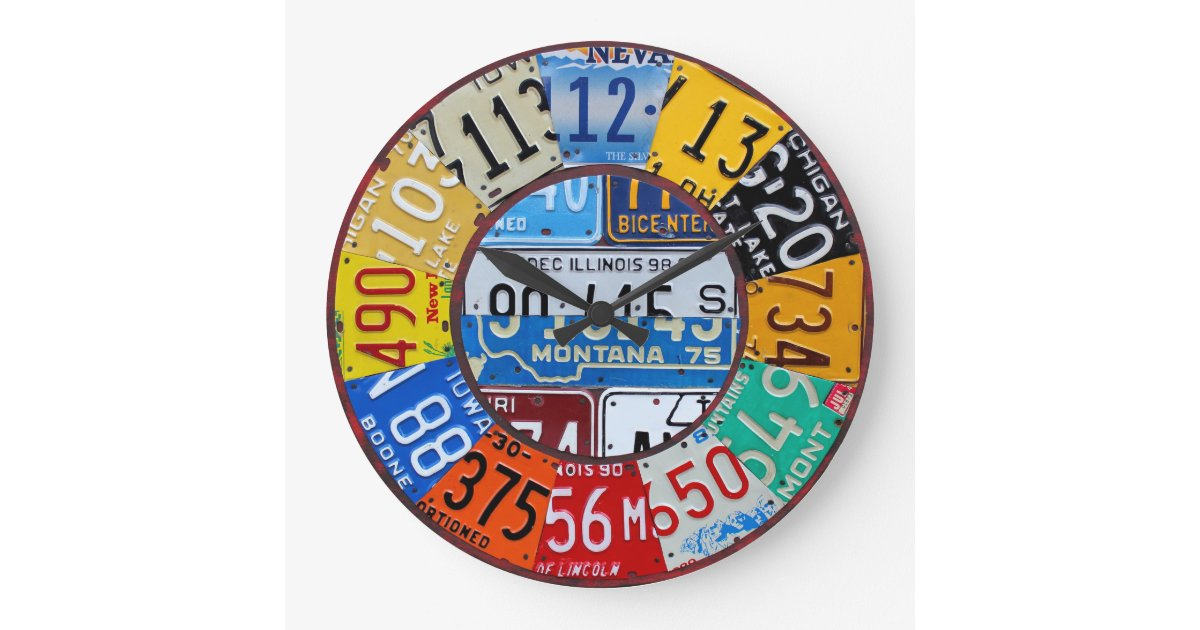 License Plate Clock Vintage Numbers Car Tag Art | Zazzle.com