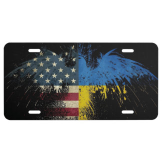 License Plate Eagle American Ukrainian Flags