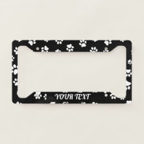 License Plate Frame - Paw Prints Black White