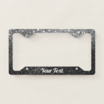 License Plate Frame - Your Text Glitter Grey Black
