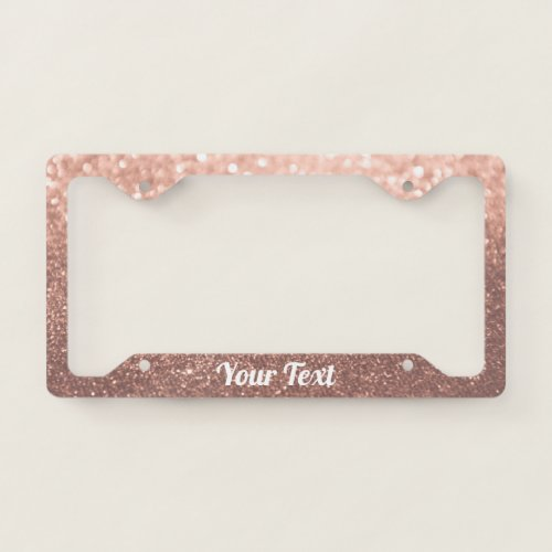 License Plate Frame _ Your Text Rose Gold