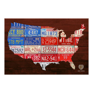 License Plate Map Flag of the USA Poster