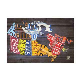 License Plate Map of Canada Wrapped Canvas Canvas Prints