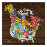 License Plate Map of North America: Plus Hawaii Poster