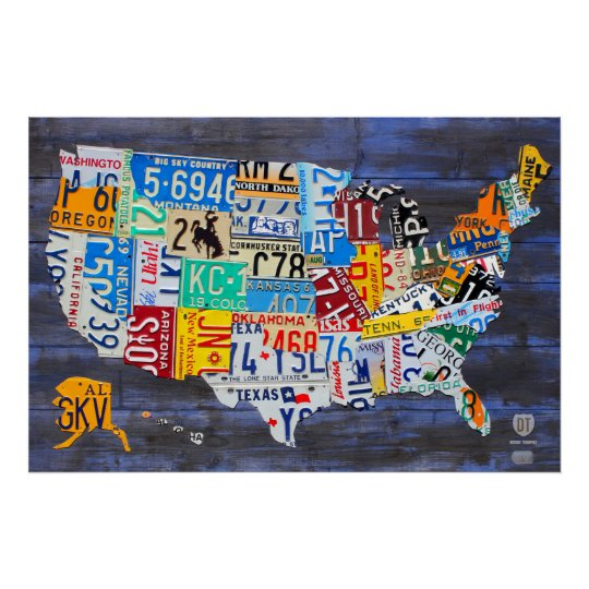 License Plate Map Of The United States Blue Ed 13 Poster