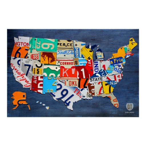 License Plate Map of the United States on Blue Poster