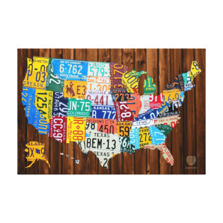 License Plate Map of The United States on Pine Canvas Print