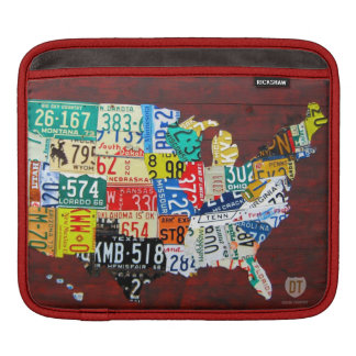 License Plate Map of the United States Sleeve For iPads