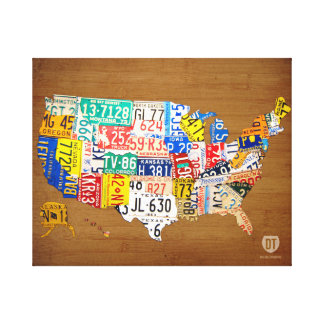 License Plate Map of the United States Wrapped Can Canvas Print