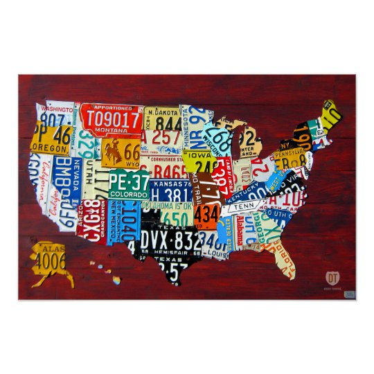 License Plate Map of the USA 2011 Edition 3 Poster on map wall decor metal art, map made of books, map white on white art, map made of tools, map of united states license, map made of paper, map made of flowers, map made of buttons,