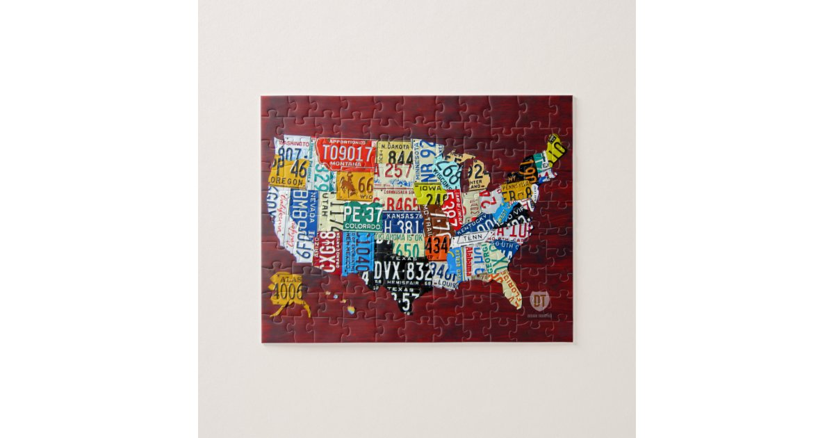 License Plate Map Of The USA Puzzle Zazzle - Us map license plate puzzle