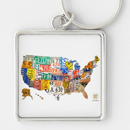 License Plate Map of the USA Keychain