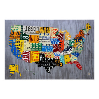 License Plate Map of the USA - Muscle Car Edition Poster