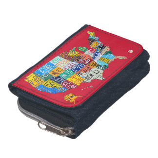 License Plate Map of the USA on Red Denim Wallet