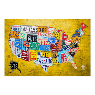 License Plate Map of the USA on Yellow Wood Board Poster