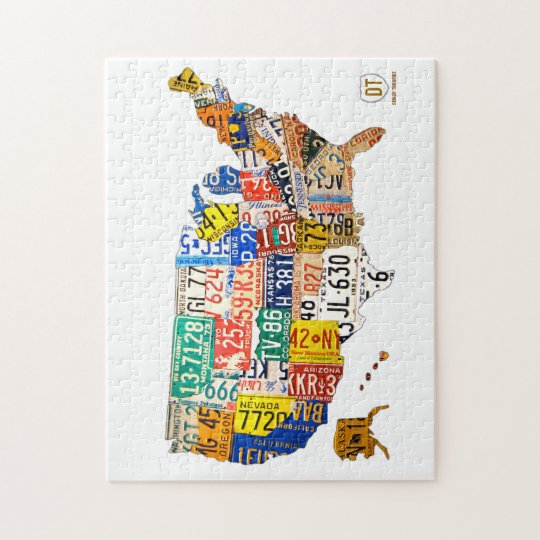 License Plate Map of the USA Puzzle