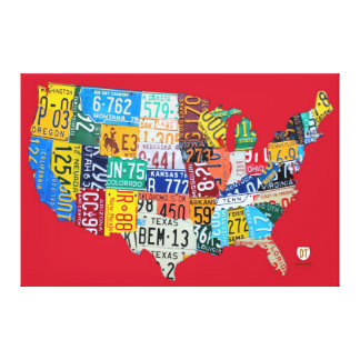 License Plate Map of the USA Red Canvas Print V2
