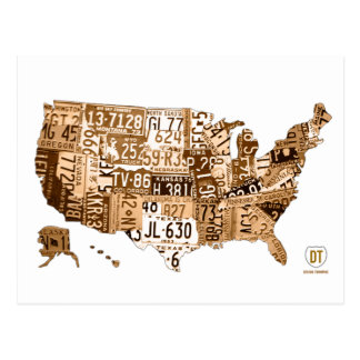 License Plate Map of the USA Sepia Postcard