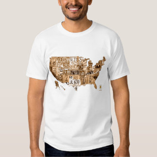 License Plate Map of the USA Sepia Tone T-Shirt