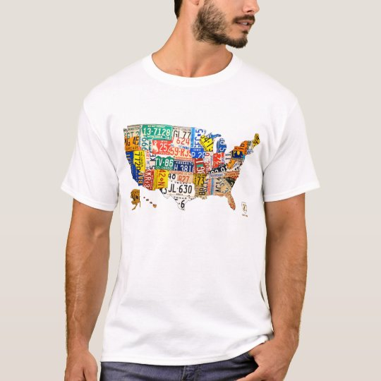 License Plate Map of the USA T-Shirt on using map of missouri license plates, united states map printable pdf, united states license plate game, 50 states license plates, united states map with scale, us map made of license plates, united states license plate designs, united states map art, united states licence plates, united states license plates 2014, united states map printout, furniture made from license plates,