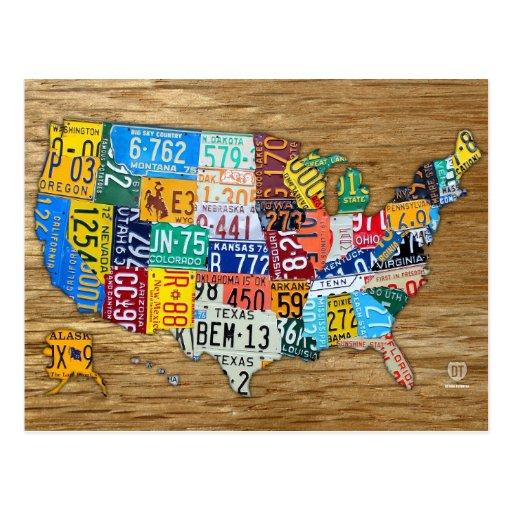 License Plate Map of the USA Travel the 50 States Post Cards