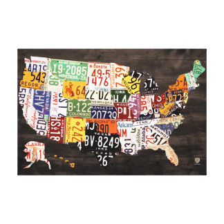 License Plate Map of The USA - Warm Colors / Black Gallery Wrapped Canvas