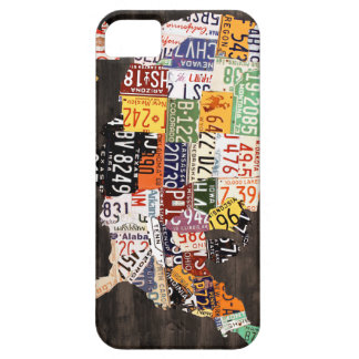 License Plate Map of the USA - Warm Colors / Black iPhone SE/5/5s Case
