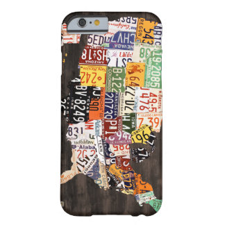 License Plate Map of the USA - Warm Colors / Black iPhone 6 Case