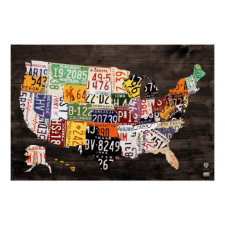License Plate Map of The USA - Warm Colors / Black Poster