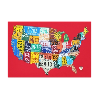License Plate Map of the USA Wrapped Canvas 36x24