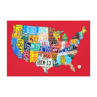 License Plate Map of the USA Wrapped Canvas 48x32