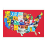 License Plate Map of the USA Wrapped Canvas Red Canvas Print