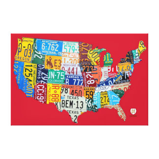 License Plate Map of the USA Wrapped Canvas Red Gallery Wrap Canvas