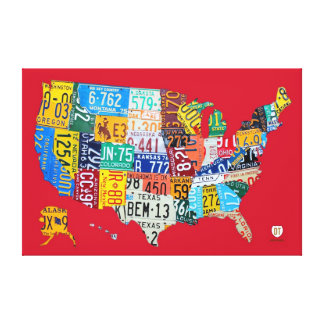 License Plate Map of the USA Wrapped Canvas Red Stretched Canvas Prints