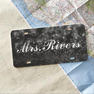 License Plate - Mrs. Glitter Black
