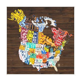 License Plate of North America - Canada and USA Canvas Prints