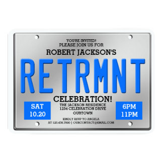 License Plate Retirement Party Invitations