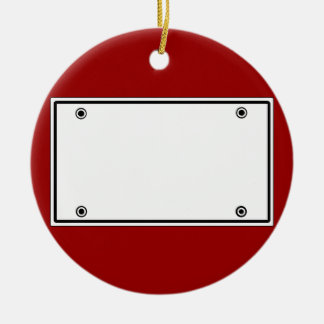 License plate template ceramic ornament