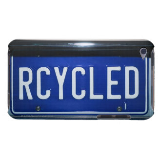 License plate with RECYCLED iPod Touch Cases
